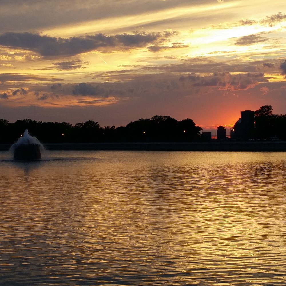 Cobbs Hill reservoir at sunset, by Trisha G.