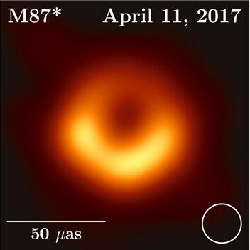 The first image of the event horizon of a black hole, taken by the Event Horizon Telescope of the supermassive black hole M 87 star. It looks like a lumpy orange donut that's brighter on the front side closer to us and dimmer on the back side further from us.
